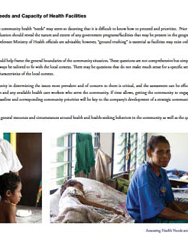 Assessing Health Needs and Capacity of Health Facilities