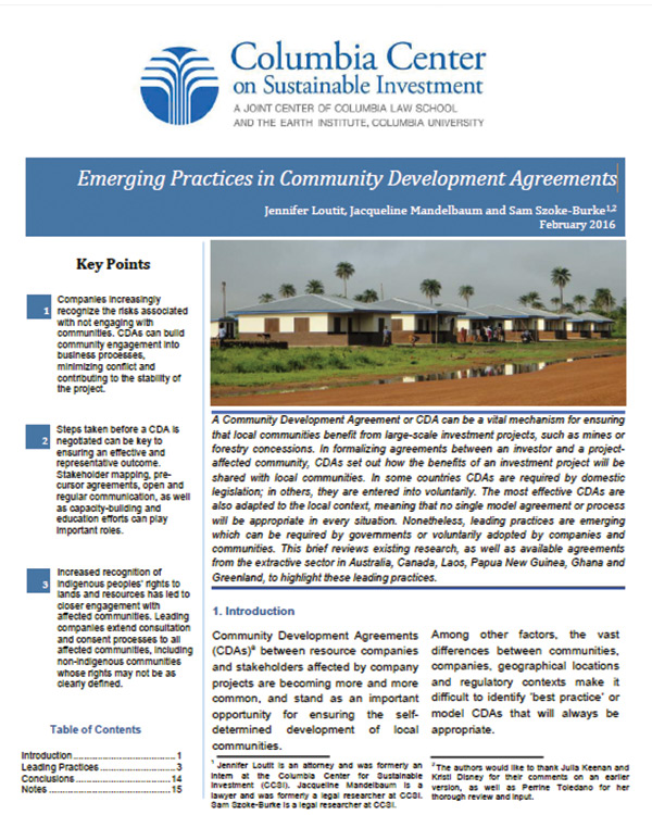 Emerging Practices in Community Development Agreements