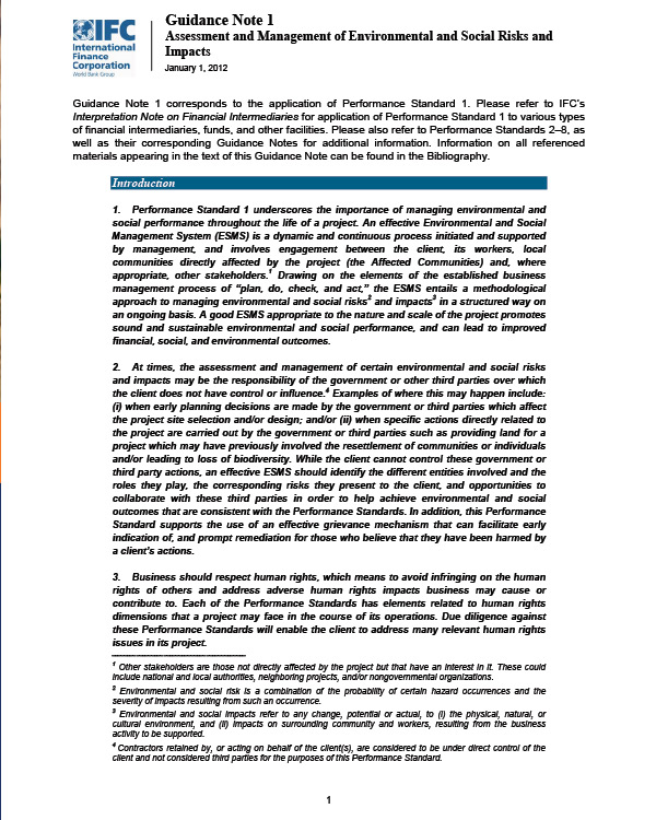 IFC Guidance Note 1: Assessment and Management of Environmental and Social Risks and Impacts