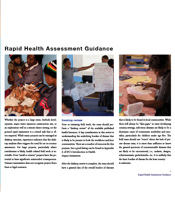 Rapid Health Assessment Guidance