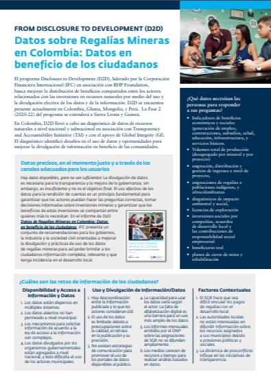 [Spanish Version] Aspectos Clave: Datos sobre Regalías Mineras en Colombia: Datos en beneficio de los ciudadanos